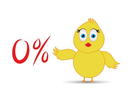 chick with 0%  percentage sign