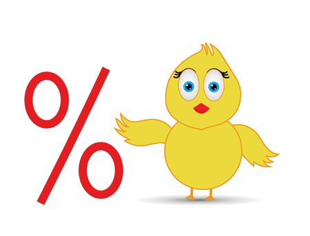 chick with percentage sign