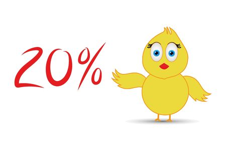 chick with 20%  percentage sign Banco de Imagens