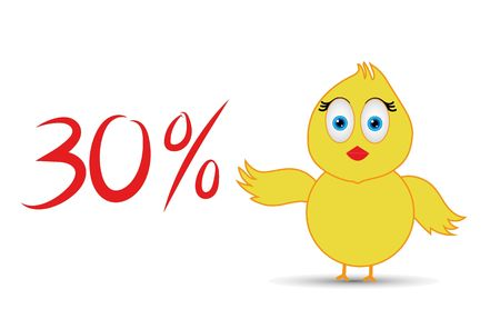 chick with 30%  percentage sign Banco de Imagens