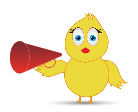 babe chick or business cartoon character communicates through a megaphone