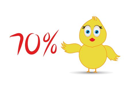 chick with 70%  percentage sign