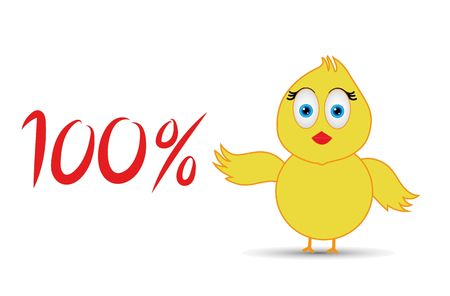 chick with 100%  percentage sign