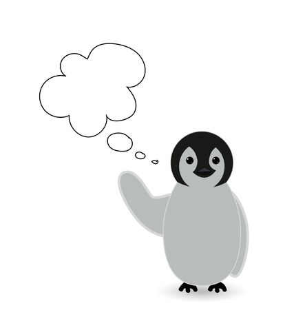 a message , chit chat or speech bubble with cute penguin Stock Photo