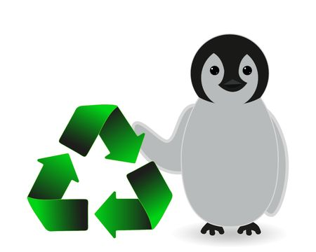 penguin holding recycle concept 스톡 콘텐츠