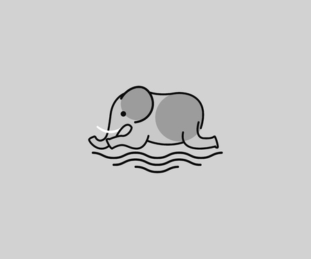 one line elephant with grey color