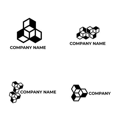 vector cubus illusion logo template Ilustração