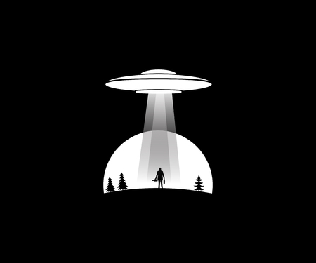 vector illustration of a man on a hill to be taken by UFO