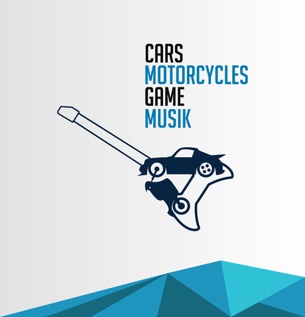combination car, motorcycle, game, mucic icon. for man cave logo