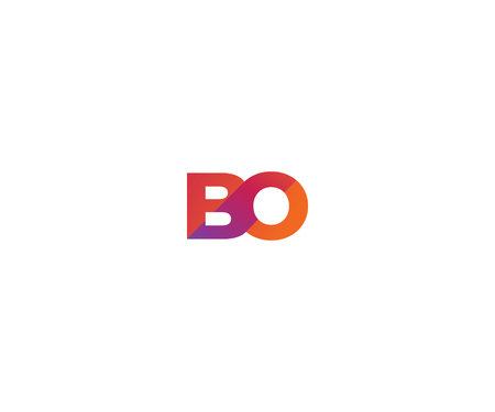 Letter BO logo design, colorful vector icon template