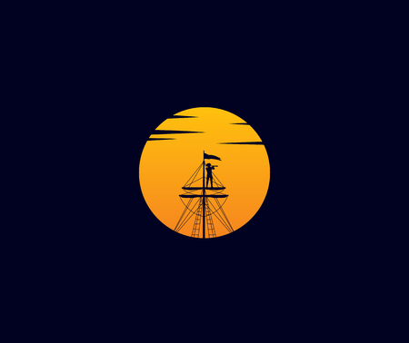 a man in above a ship with sunset or sunrise vector icon logo design