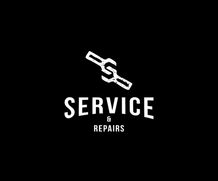 service and repairs company template design with creative letter S forming  wrench vector icon template Stock Illustratie