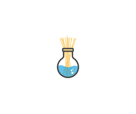 spaghetti pasta is soaked in a laboratory glass vector illustration logo icon design