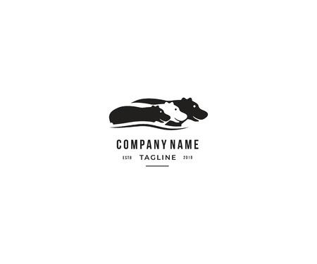 hipopótamo creativo con diseño de logotipo de estilo espacial negativo