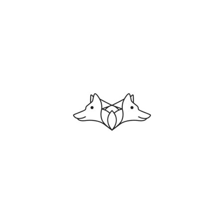twin fox forming flower unique logo design vector template