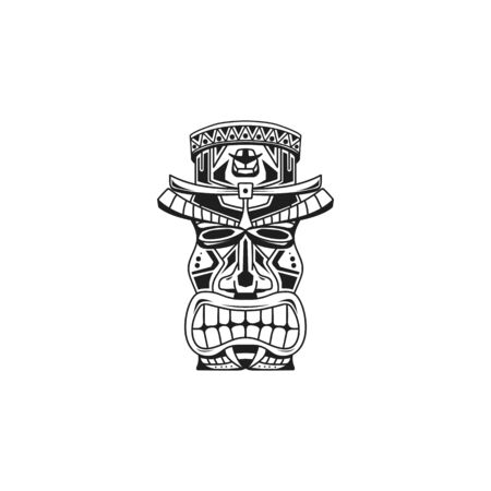 traditional hawai statue. Vector illustration of etnic statue logo, vector, icon, template Banque d'images - 127131088