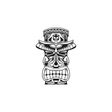 traditioneel hawai-standbeeld. Vectorillustratie van etnisch standbeeld logo, vector, pictogram, sjabloon