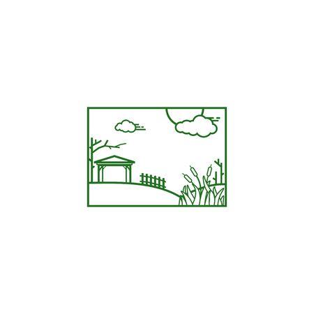 hipster garden backyard vector illustration logo design, t shirt design template