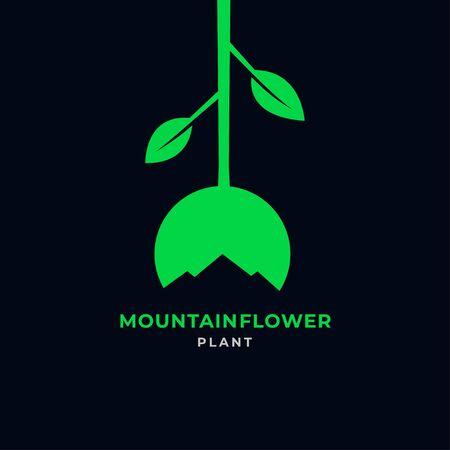 Mountain flower logo icon vector illustration template