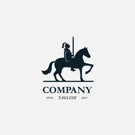 medieval knight horse logo icon sign vector illustration. Isolated on white background 向量圖像