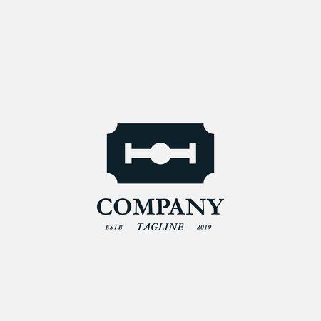 razor blade vector logo, icon, sign design concept. Isolated on white background Çizim
