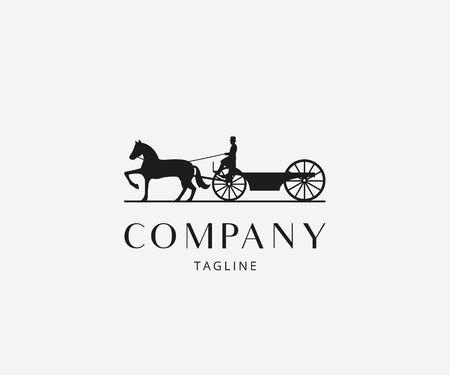 Signo de icono de logotipo vintage clásico de carruaje tirado por caballos. Ilustración vectorial