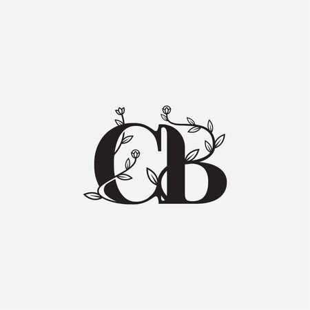 Letter CB floral logo vector illustration