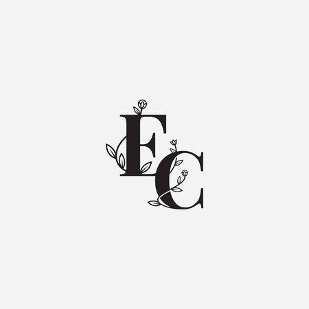 EC letter floral logo vector icon illustration template