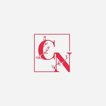 letter CN natural floral logo vector icon sign template Çizim