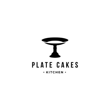 cake plate logo vector icon sign template. Isolated on white background