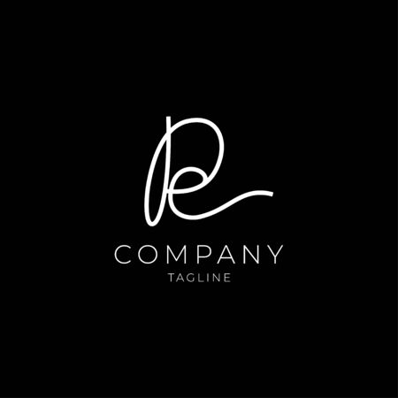 Letter RE PE abstract luxury elegant logo concept. Vector illustration icon sign