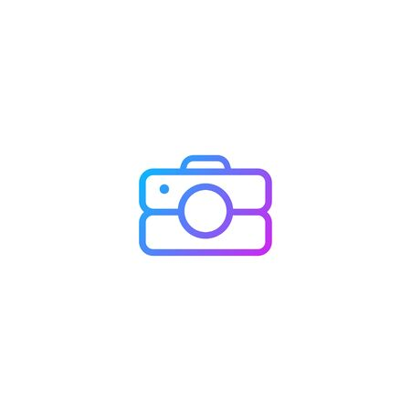 Line art outline Camera Photography Icon modern simple colorful logo template illustration isolated on white background. Vector