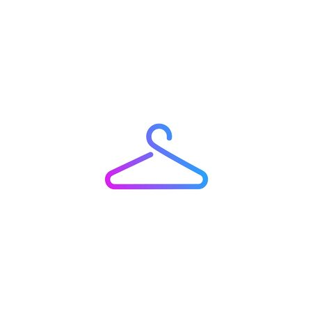 Clothes hanger simple modern colorful laundry icon vector symbol sign isolated on a white background