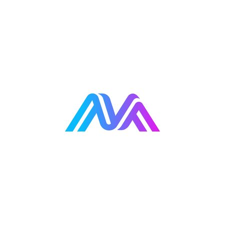 Letter M colorful modern logo icon sign for business company visual identity in line art style with trendy gradient color. Vector illustration Çizim