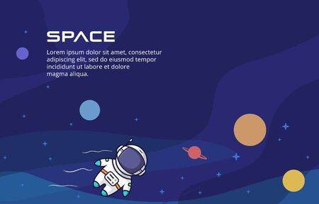 Cute flat space background design. Simple cosmos background with cute template kids astronaut, planets, stars. Vector illustration