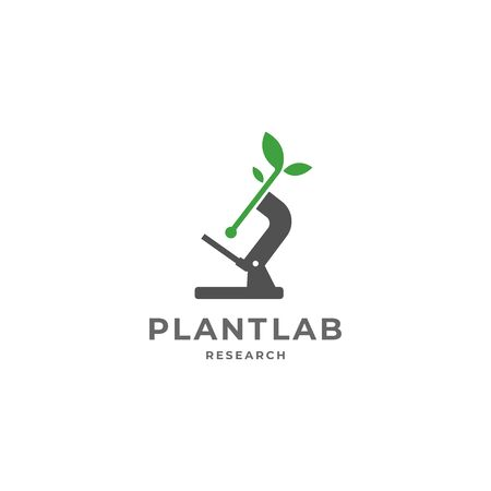 Plant labs ecology research vector logo template for environment and laboratory industrial. Vector illustration isolated on white background