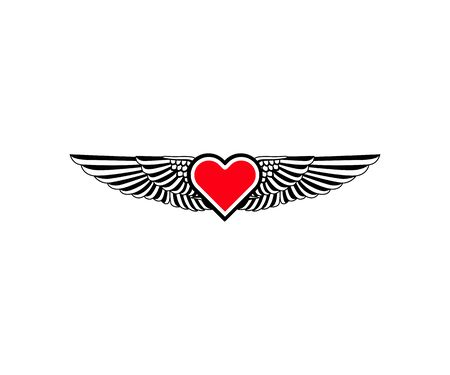 Heart with wing classic logo icon sign. Vector illustration isolated on white background Çizim