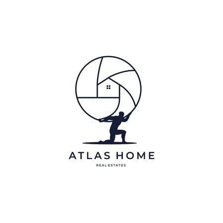Atlas home global marketing real estate housing creative symbol logo icon concept. Real estate agency business logo idea. Home interior. Company identity logotype design tamplate