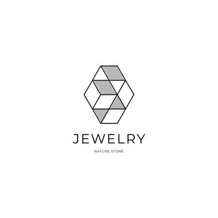 Jewelry line art outline abstract logo design, diamond, jewellery fashion, luxury, stylish. Clean, modern and elegant style design. Isolated on white Çizim