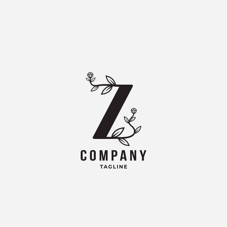 letter Z with flower elegant minimal logo icon sign. Vector illustration