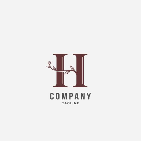 H letter with folwer decoration logo vector icon sign. Isolated on white background