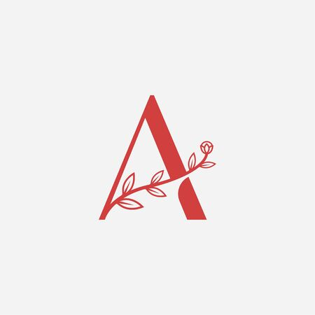 Letter A floral minimal abstract logo icon sign. Vector illustration isolated on white background