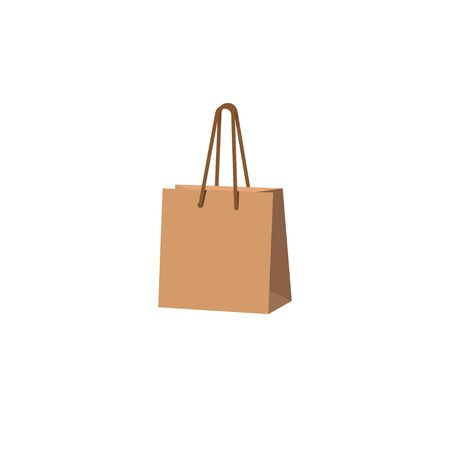 paper shopping bag vector illustration isolated on white background. Simple paper bag logo icon. Çizim
