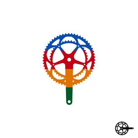 Road bike crank logo icon sign. Vector illustration isolated on white background