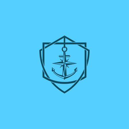 Anchors Anchorage and Rope icon sign logo Company in vintage cool frame badge emblem designs. Vector illustration isolated on blue background