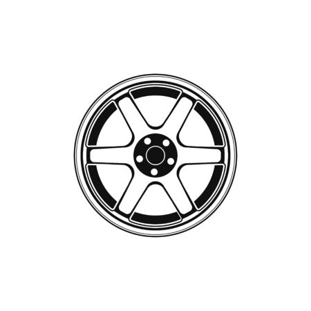 Car rim vector illustration icon isolated on white background. Wheel symbol in flat style. Car element Çizim