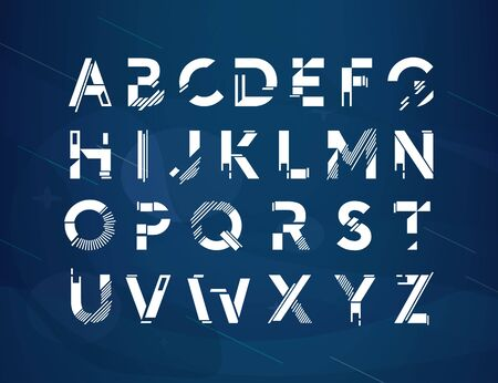 Modern geometric futuristic vector alphabets Font design. Cool Letters for title, poster, web and app. Techno type font alphabet. Digital hi-tech abstract style  font. Isolated on blue background