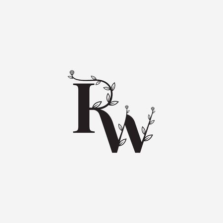 Letter RW floral minimal logo icon sign. Vector illustration isolated on white background