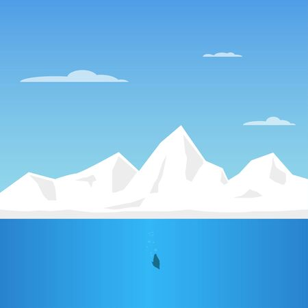Arctic Ice Landscape with Iceberg and sea vector illustration. Flat Design Style. Vector illustration of the north pole Çizim