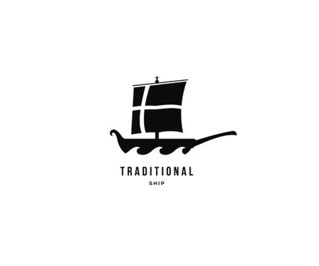 Boat and traditioanal ship simple unique logo icon. Minimal silhouette sail boat logo. Ship and sea wave logotype Vector illustration. isolated on white background